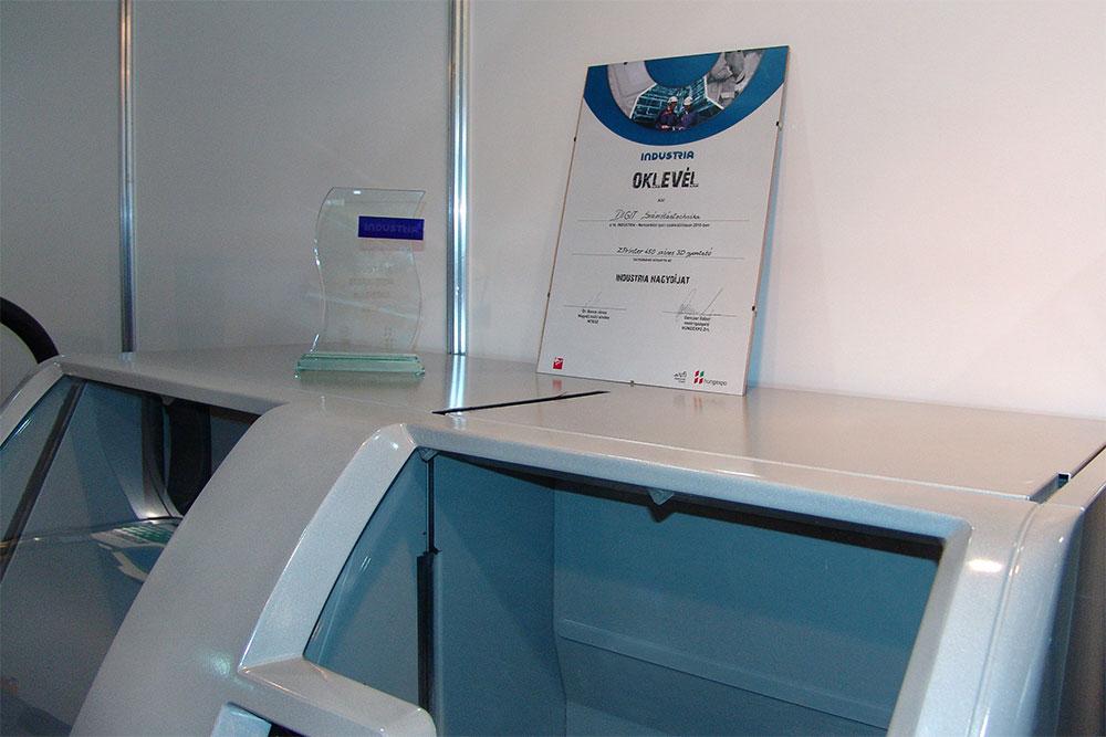 Industria nagydíjat nyertünk a Zprinter 450 színes 3D nyomtatóval (2010)