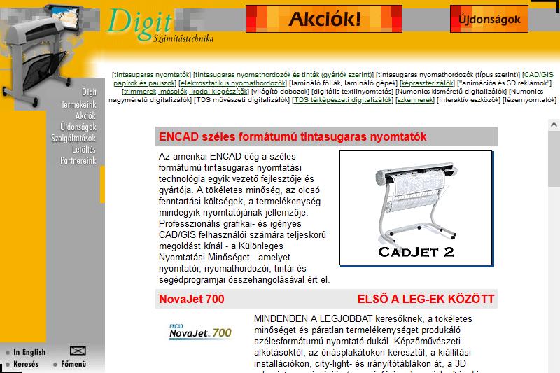 A Digit első honlapja (1999)