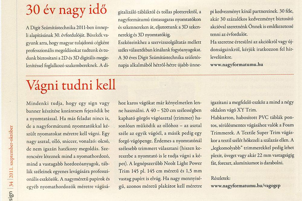Sajtómegjelenés a 30. évfordulónkon a Sign magazinban (2011)